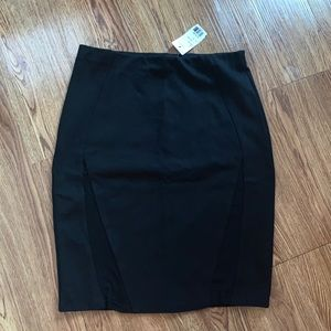 NWT Poetry Black Bodycon Pencil Skirt with Mesh